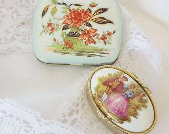 Vintage Trinket Box Set of 2 - Porcelain Tin Hand Painted Victorian Scene - Collectible Decor Decorative