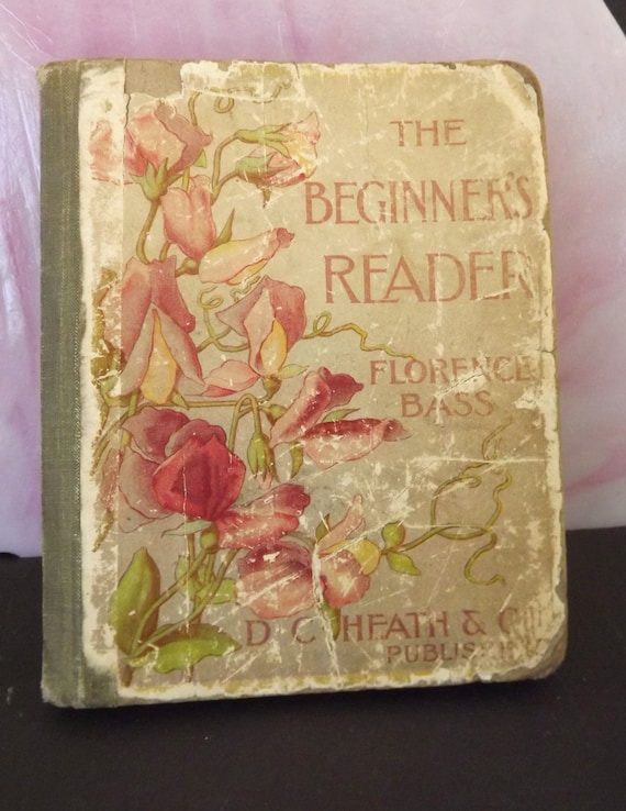 Vintage Antique Book Childs Book First Reader by Florence Bass Animal LIfe Nature Pioneer Life