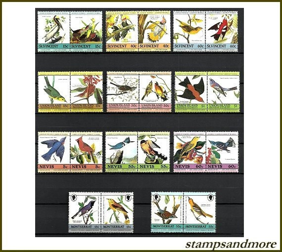 Lot of Colorful Bird Postage Stamps - Scrapbooking - Card Making