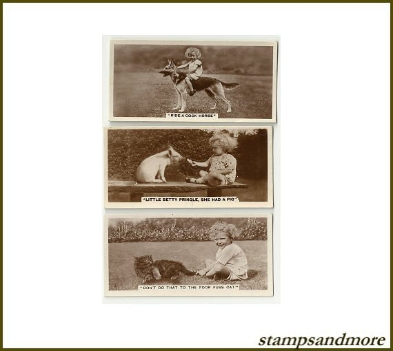 Old Real Photo Cigarette Cards- Children & Animals