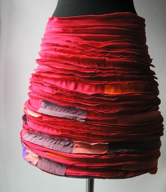 RED Cotton skirt (red-purple combination)