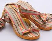 SZ 8.5 Vintage 90s Summer Pastel Striped Espadrilles Wedges