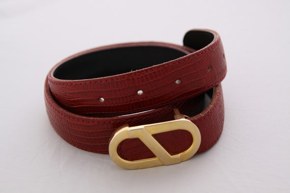 VINTAGE Robbie Nelson Red Leather Belt