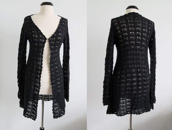 Vintage 90s Black Crochet Long Hippie Sweater Size M