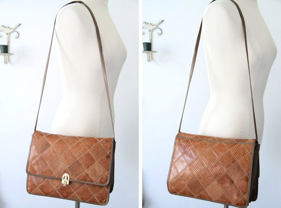 SALE WAS 98.00 Vintage 80s VENETTO Brown/Taupe Leather Patchwork Accordion Satchel Beautiful Roomy