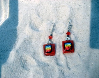 Rainbow of color fused glass & dichroic earrings
