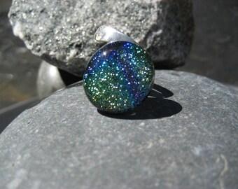 Rainbow Dream adjustable fused glass & dichroic ring
