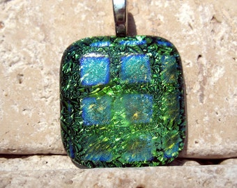 Colorful in green dichroic fused glass pendant