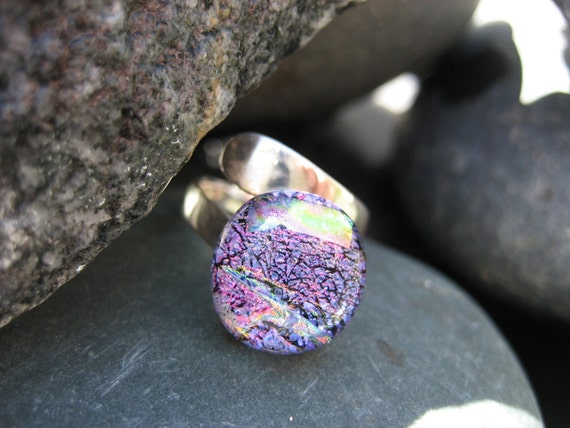 Wisteria fused glass & dichroic adjustable ring