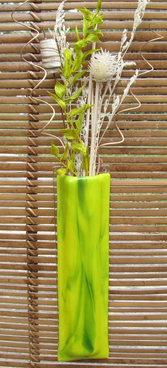 Bright & Cheery hanging fused glass wall vase