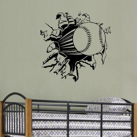 Items Similar To Baseball Rip Through Wall Decal Art On Etsy