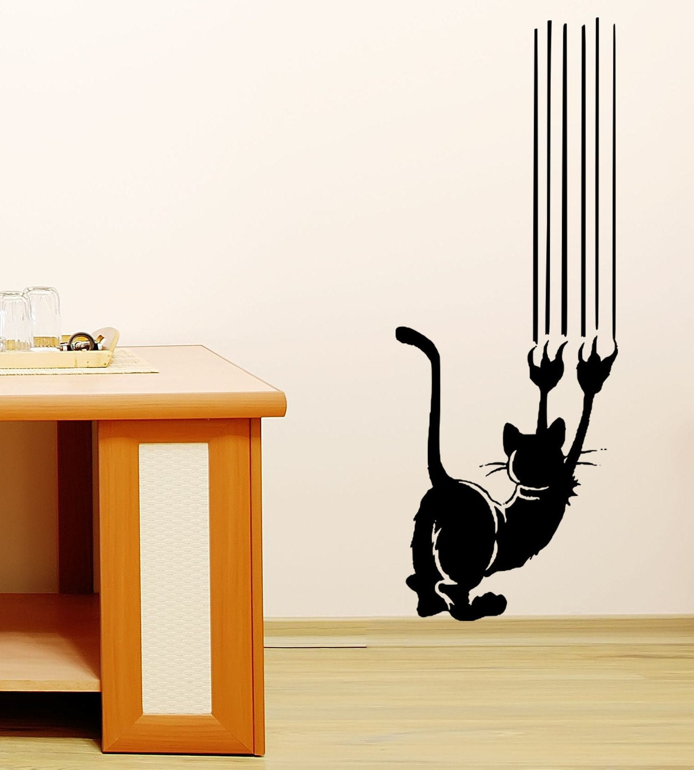 Items Similar To Cat Scratch Vinyl Wall Decal Art On Etsy