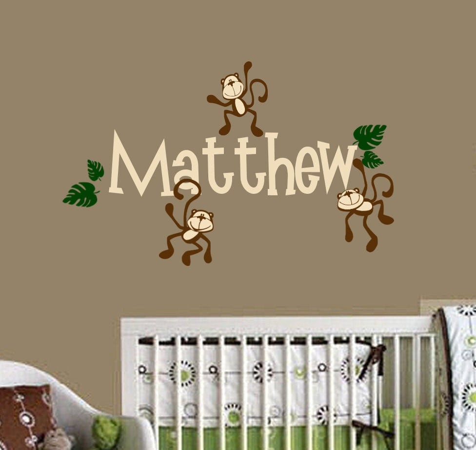 monkeys hanging with name vinyl wall decals nursery room decor. Black Bedroom Furniture Sets. Home Design Ideas