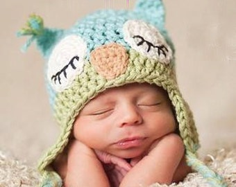 FREE SHIPPING - Ready to Ship Sleepy Owl Hat Blue and Green any size