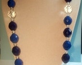 Vintage Bubble Bead Necklace Clear Lucite and Blue