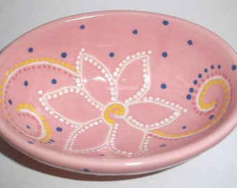 Ceramic Oval Trinket Dish / Bowl - Pink - Flower, Dots and Swirls