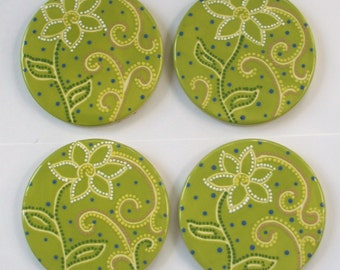 Ceramic Coaster Set - Lime Green - Flower and Swirls - Hand Painted