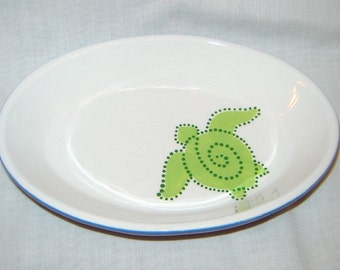 Hand Painted Ceramic Oval Dish/ Bowl - Ocean Sea Turtle Green and Blue