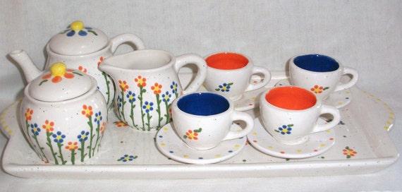 ceramic little girls child tea set fun by vickylynndesigns. Black Bedroom Furniture Sets. Home Design Ideas