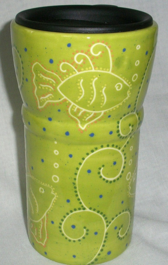 Ceramic Travel Coffee Mug Lime Green Fish By Vickylynndesigns