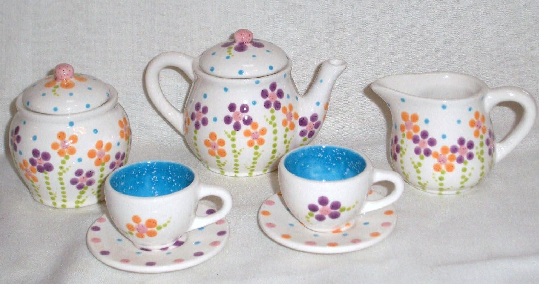 Ceramic Little Girls Child Mini Tea Set Fun Flowers