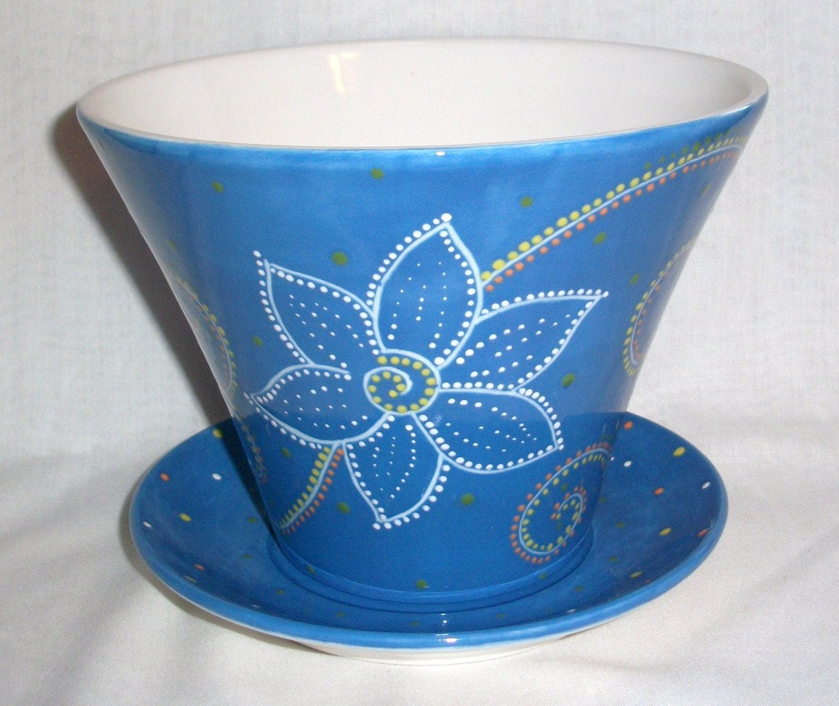ceramic flower pot hand painted blue flowers swirls