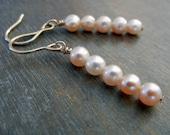 Pink Pearl, Gold Earrings - Delicate Drop Earrings on Gold-Filled Earwires