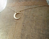 Silver Moon Necklace | Silver Crescent Charm | Brushed Sterling Silver