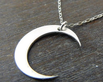 Little Sterling Silver Crescent Moon Charm Necklace by E. Ria Designs Jewelry