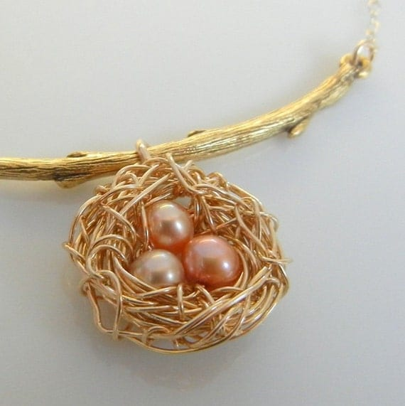 Nest Necklace on Branch, Gold Filled Wire Nest, Pink Pearl Eggs on Gold Filled Chain INSTINCT by E. Ria Designs