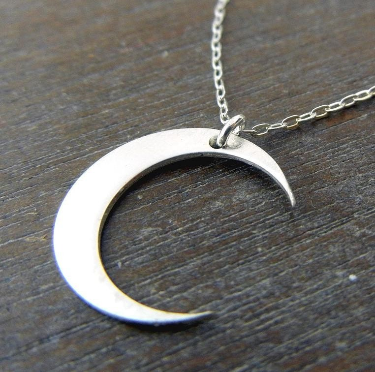 Silver Moon Necklace Silver Moon Charm Necklace Silver
