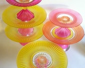 This Listing is for Sue Please Do Not Buy One Hand Painted Cake Stand Your Choice in Yellow, Hot Pink, coral and Orange