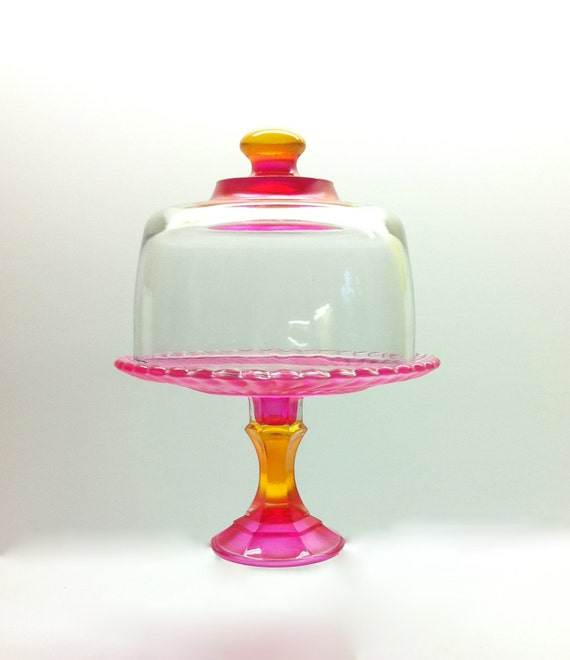 Purple Glass Cake Stand With Dome