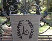 Monogram Burlap Galvanized Bucket for bridesmaid gift, wedding, hostess gift.....personalized rustic elegance