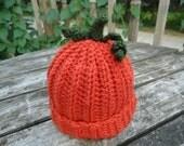 Preemie, Newborn to 3 Months, 3 to 6 Months Baby Pumpkin Hat...Great Photo Prop