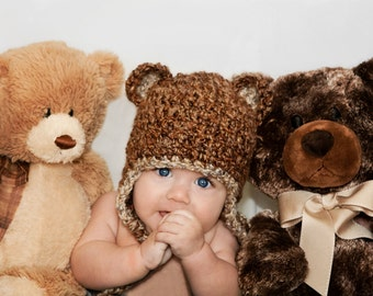 Snuggly Fuzzy Bear Earflap Hat  in Regal Earth and Shale....Great Photo Prop