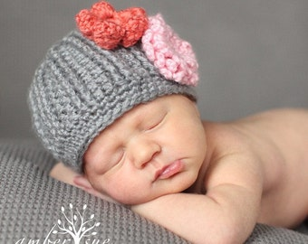 Newborn  Beanie in Gray with 6 Interchangeable Flowers...Great Photo Prop