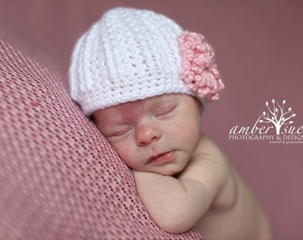 Newborn  Beanie in White with 6 Interchangeable Flowers...Great Photo Prop