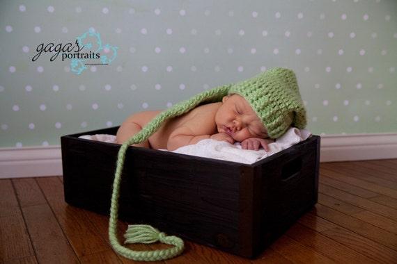 Newborn Pixie Hat in APPLE GREEN....Great Photo Prop