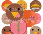 Cute Turkey Thanksgiving Bottle Cap Images- 4x6 Digital Collage Sheet (No. 1023)1 Inch Circles for Bottlecaps, Hair Bow Centers, & More
