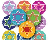 Star of David Bottle Cap Images- 4x6 Digital Collage Sheet (No. 1041)1 Inch Circles for Bottlecaps, Hair Bow Centers, & More