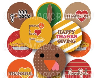Thankful Happy Thanksgiving Bottle Cap Images- 4x6 Digital Collage Sheet (No. 1030)1 Inch Circles for Bottlecaps, Hair Bow Centers, & More