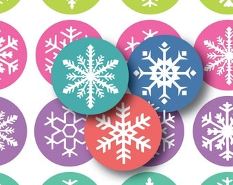 Pretty Snowflakes Bottle Cap Images- 8.5 x 11 Digital Collage Sheet (No. 1034)1 Inch Circles for Bottlecaps, Hair Bow Centers, & More