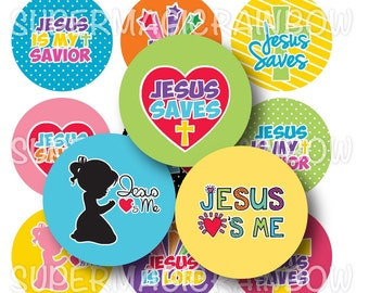 Jesus Loves and Saves - 4x6 Digital Collage Sheet (No. 1067)1 Inch Circles for Bottlecaps, Hair Bow Centers, & More