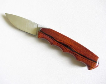 Sale - Drop Point Hunter's Knife -Cocobolo Wood Handle - Stainless Steel Blade - Black Leather Sheath