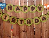 Woodland Creatures Banner- Happy Birthday- Woodland Critter- Room Decor- Photo Prop- Deer- Squirrel- Fox- Hedgehog- Or you Choose!