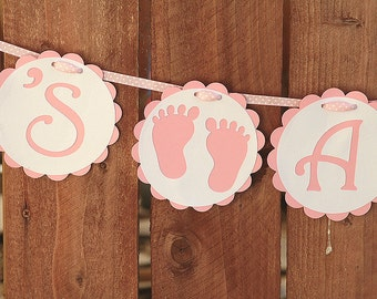 Girl Baby Shower Banner - It's a Girl Pink and White Baby Shower Banner - Sweet Baby Feet - Swiss Dot Baby Pink Grosgrain Ribbon