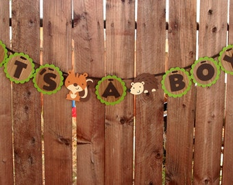 Woodland Creatures Banner- It's A Boy- Baby Shower- Woodland Critter- Room Decor- Photo Prop- Deer- Squirrel- Fox- Hedgehog- Or you Choose!