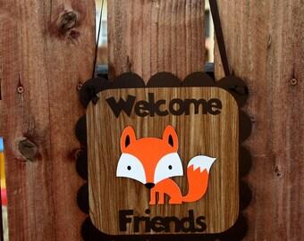 Woodland Creatures Door Sign- Birthday Party- Woodland Critter- Woodland Nursery- Photo Prop- Deer- Squirrel- Fox- Hedgehog- Or you Choose!