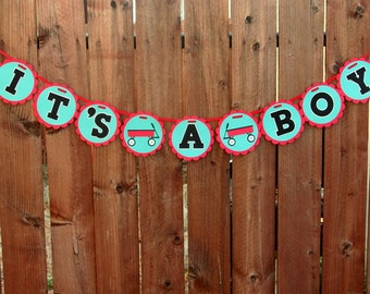 Little Red Wagon Banner Baby Shower It's a Boy